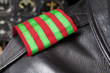 Christmas Epaulets on leather jacket